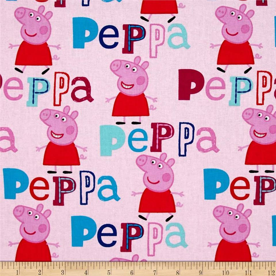 Licensed Peppa Pig Quilt Fabric Features Peppa Pink Background