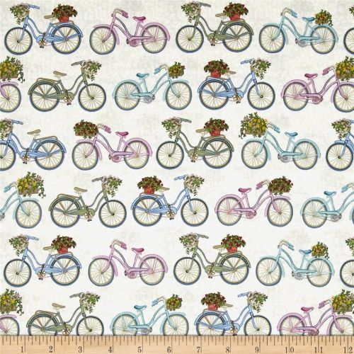 Bicycle Garden Quilt Fabric By Andover Features Bicycles
