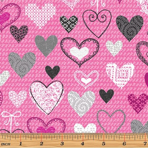 Knit Together Hearts Pink