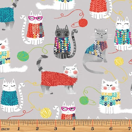 Knit Together Cats Grey