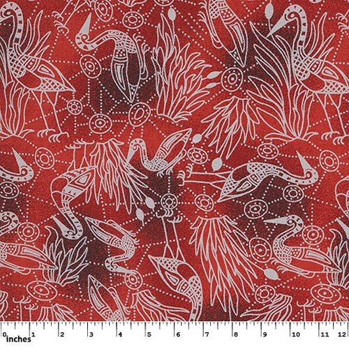 Australian Aboriginal Design Brolga Dreaming Red