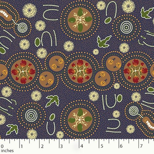 Australian Aboriginal Design Men and Woman Hunting Purple