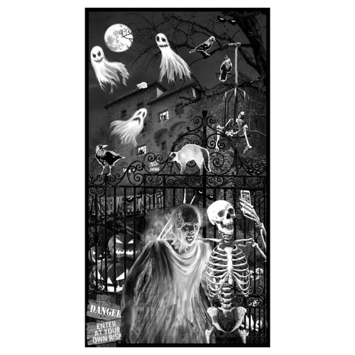Ghoulish Gathering Glow Skeleton Ghost Panel