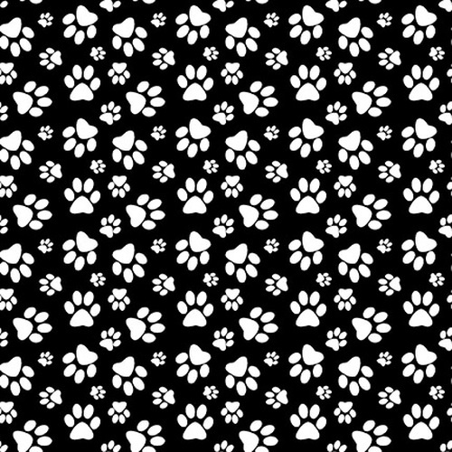 Dog Gone Fun Paw Print Black