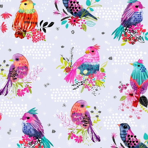 Bright Birds Digital Birds and Dots White