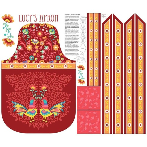 Lucy's Garden Apron Panel Red