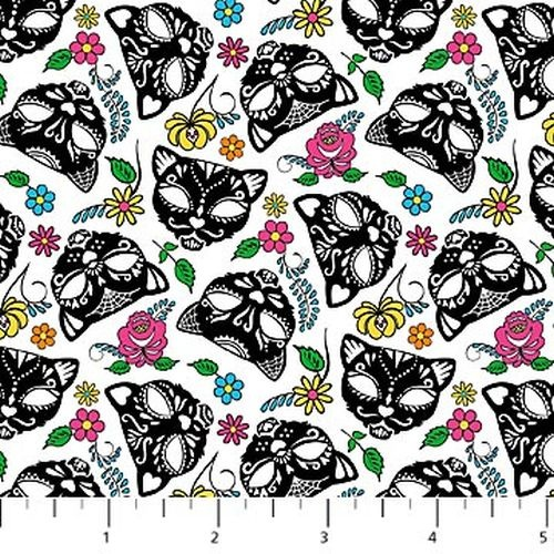 Nine Lives Floral Cat Heads Black