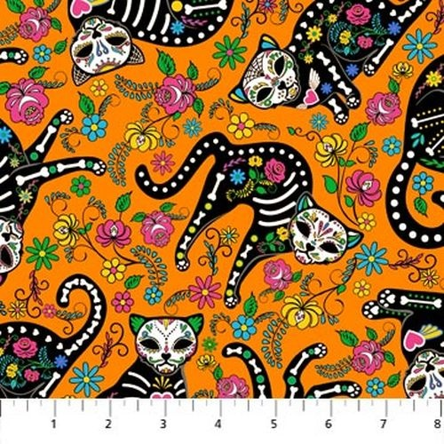 Nine Lives Day of the Dead Kitties Skeleton Cats Orange