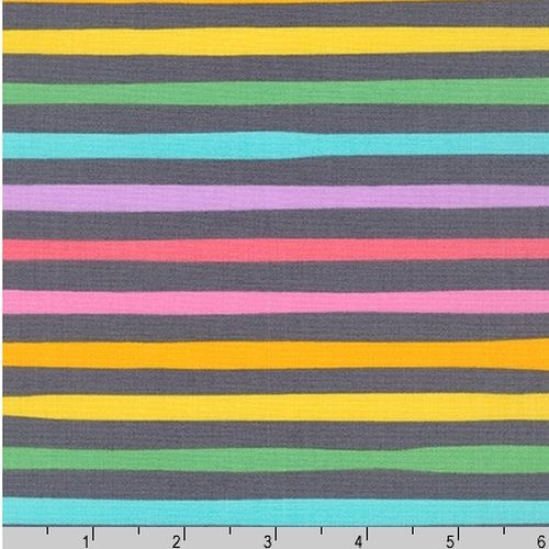 Magical Rainbow Unicorns Stripe Charcoal