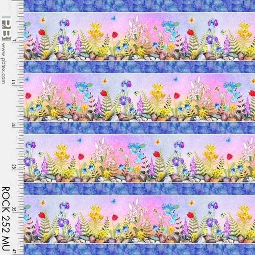 Rock Garden Digital Floral Border Stripe