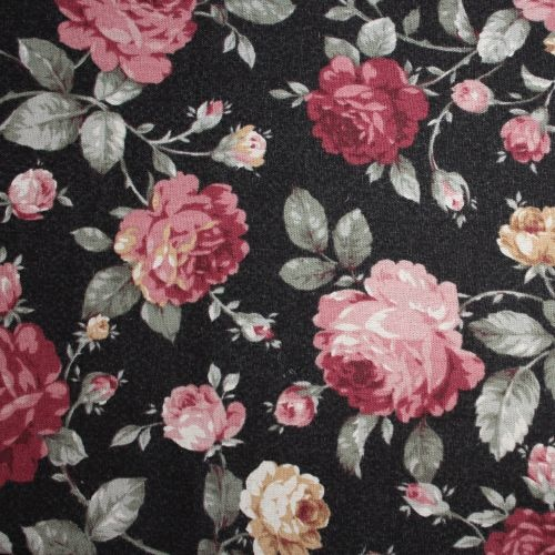 Antique Floral Black Per Metre
