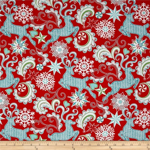 Nordic Holiday Reindeer Snowflakes Red