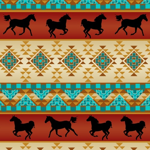 Native Spirit Southwest Horses Rust Cream