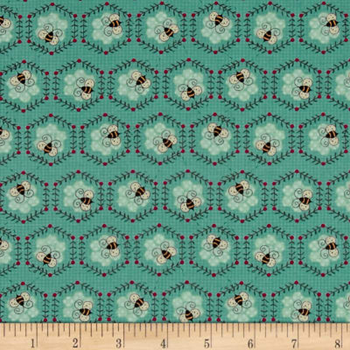 To Be or Not To Be Honeycomb Bees Teal