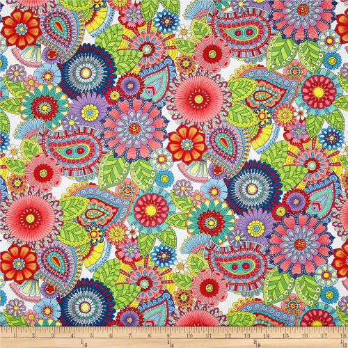 Night Bright Paisley Floral White