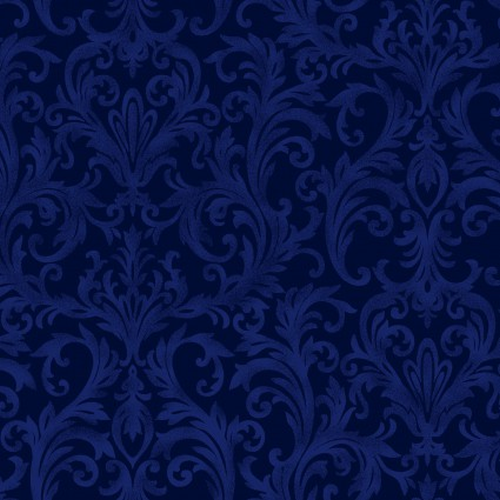 Roses On The Vine Damask Scroll Blue