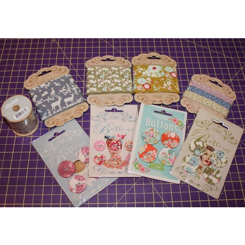 Tilda Fabric Buttons and Ribbon Pack