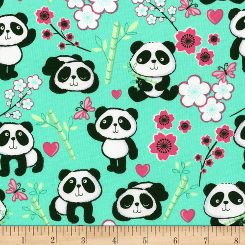 Pandas and Blossom Flowers Aqua