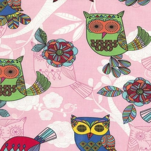 Owls Flowers Pink