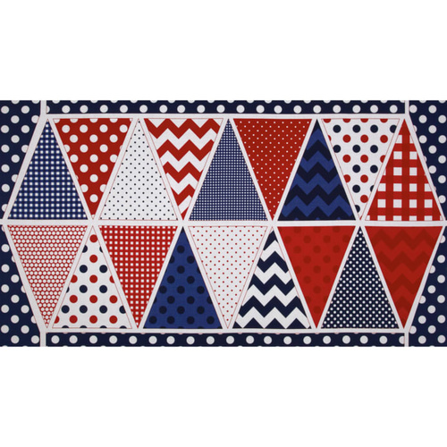 Holiday Bunting Panel Red Blue White