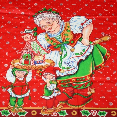 Mrs Claus Christmas Apron Panel