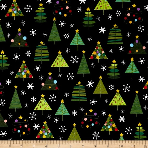Holiday Tweets Christmas Trees Black