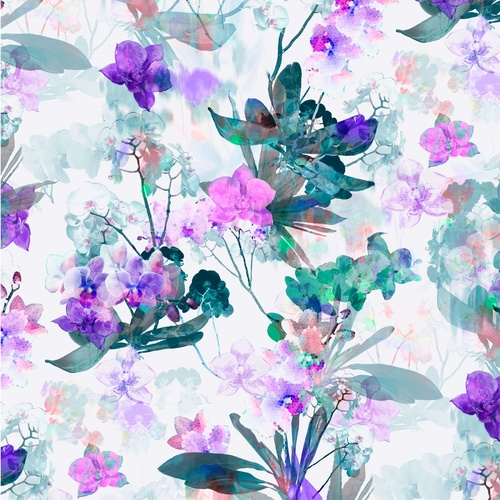 Belle Fleur Watercolour Floral Digital Purple 1/2m