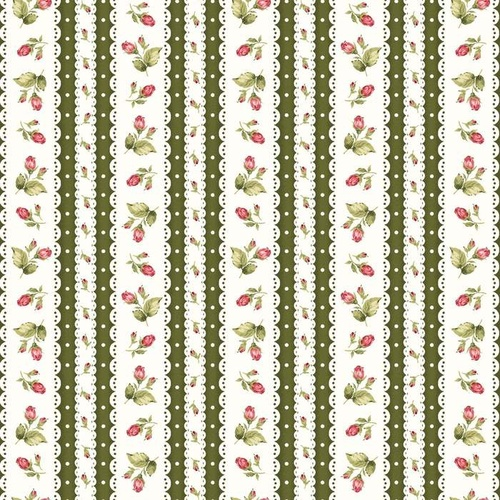 Welcome Home Flannel Rose Stripe Green