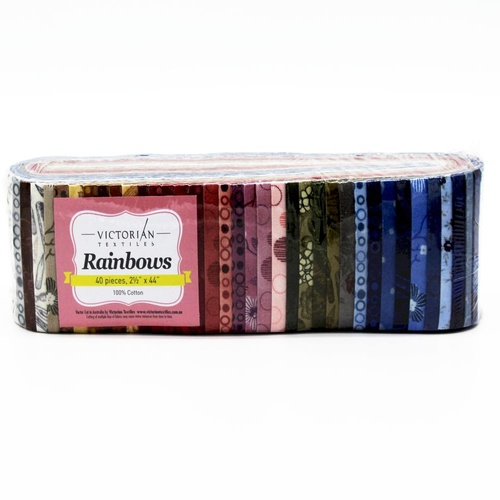 "Rainbow Pre Cut 2.5"" Jelly Roll Fabric Strips Mixed"