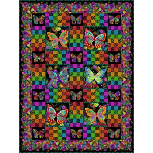 Unusual Garden II Butterfly Quilt Kit Black