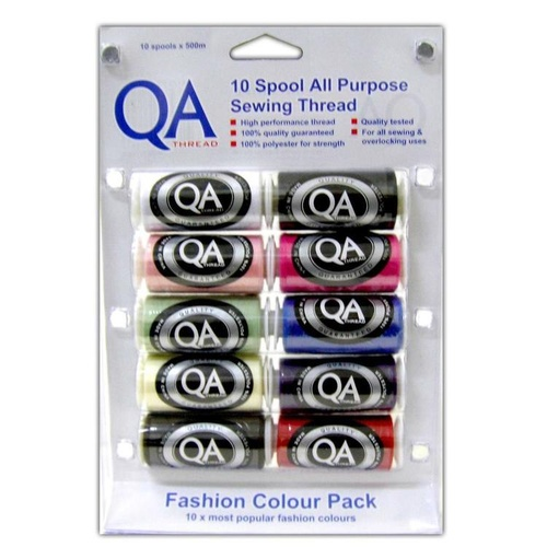 QA Thread 10 Pack - 500M Spool - Fashion Colours