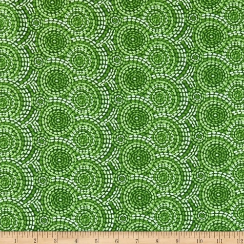 Gypsy Dreams Stitched Circles Green 9750 066