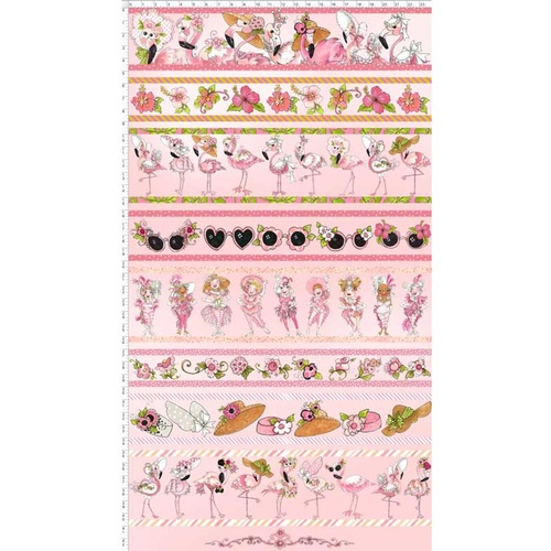 Loralie Flamingo Fancy Border Stripe Pink 9123/332