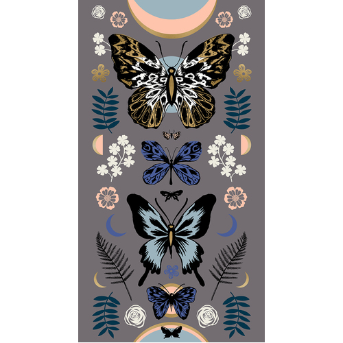 Moda Tiger Fly Metallic Butterfly Panel Slate RS2011 14M