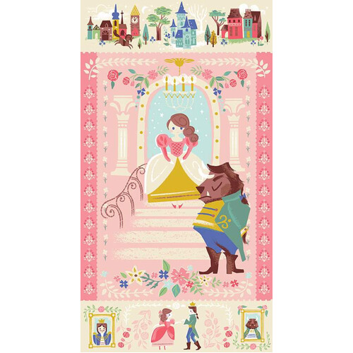 Beauty & the Beast Panel Pink 9536
