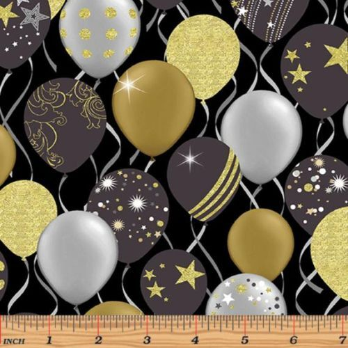 Fabric Remnant-Celebrate Metallic Balloons 80cm