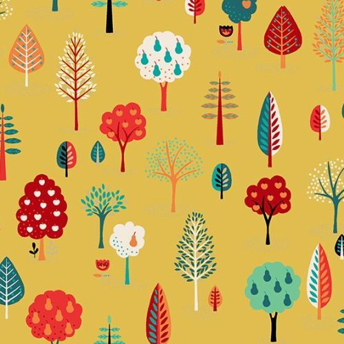 Folk Friends Scattered Trees Yellow 2305Y