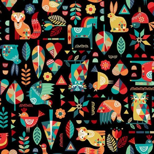 Folk Friends Woodland Animals Black 2300X
