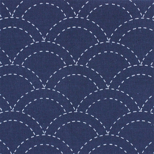 Sashiko Cloth Navy Scallop Waves 201