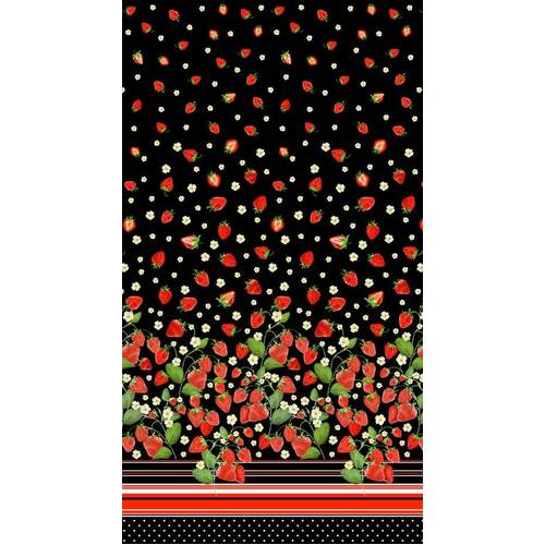 Fabric Remnant-Strawberry Fields Border 51cm
