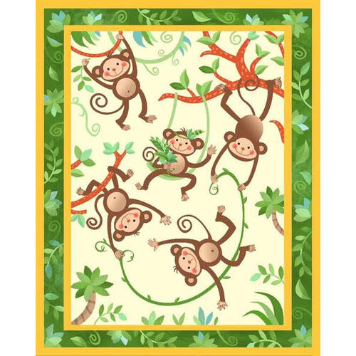 Monkeys Hanging Out Novelty Quilt Panel