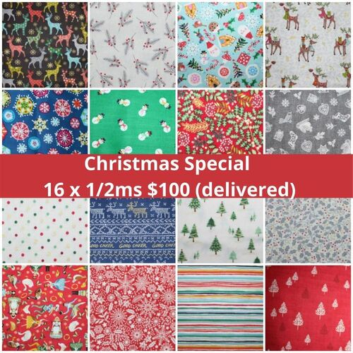 16 x 1/2m Christmas Fabric Special Offer