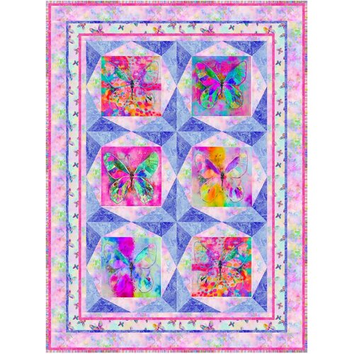 Butterfly Dreams Digital Quilt Kit Perinwinkle