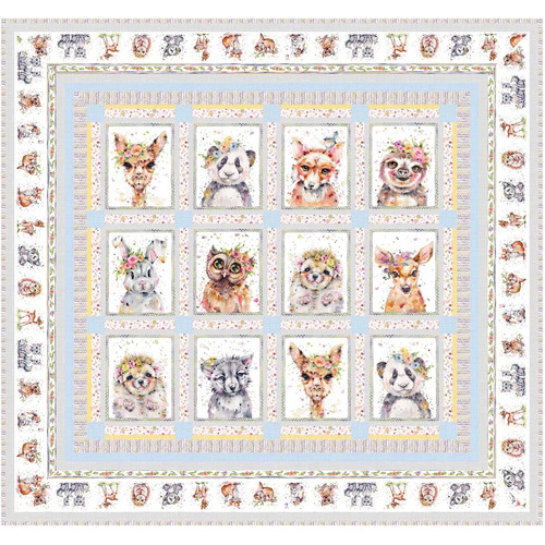 Little Darlings Woodland Animals Quilt Kit Blue