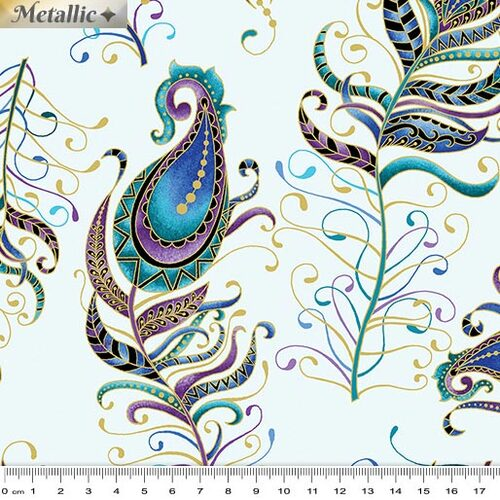 Peacock Flourish Feathers Large Lt Teal 10229M-80