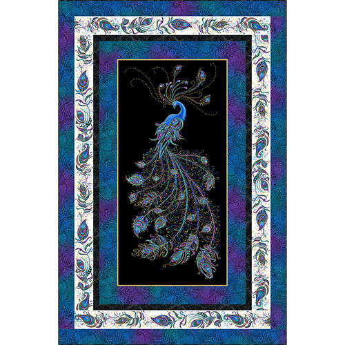Peacock Flourish Quilt Kit Black