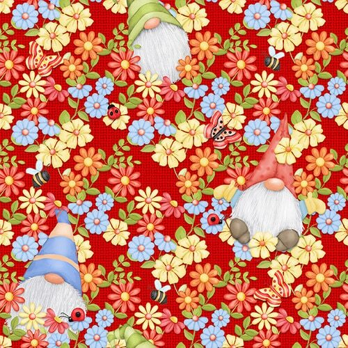 Gnome is Peeking Gnomes Floral Red 9443-88