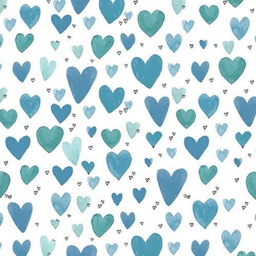 It's Raining Cats and Dogs Playful Hearts Teal 336-80
