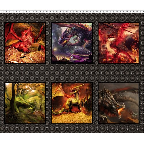 Dragons Digital Quilt Blocks Panel 1DRG-2