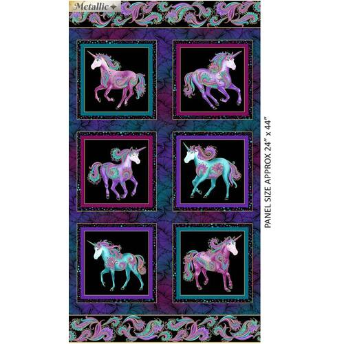Believe In Unicorns Panel Black 9012